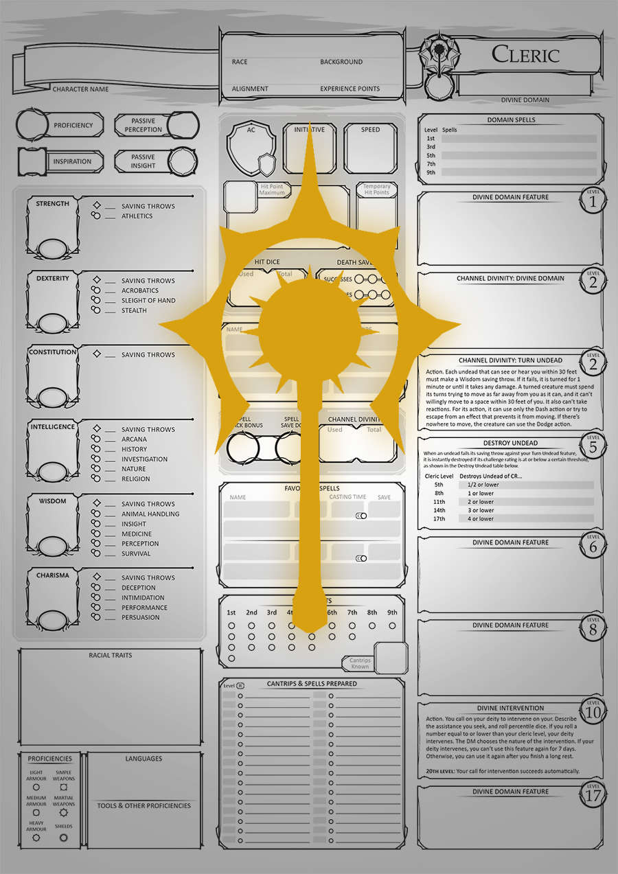 Class Character Sheets - The Cleric - Dungeon Masters Guild | Dungeon  Masters Guild