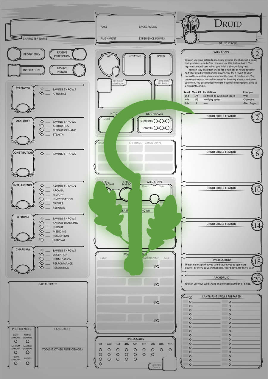 Class Character Sheets - The Druid - Dungeon Masters Guild |  DriveThruRPG com