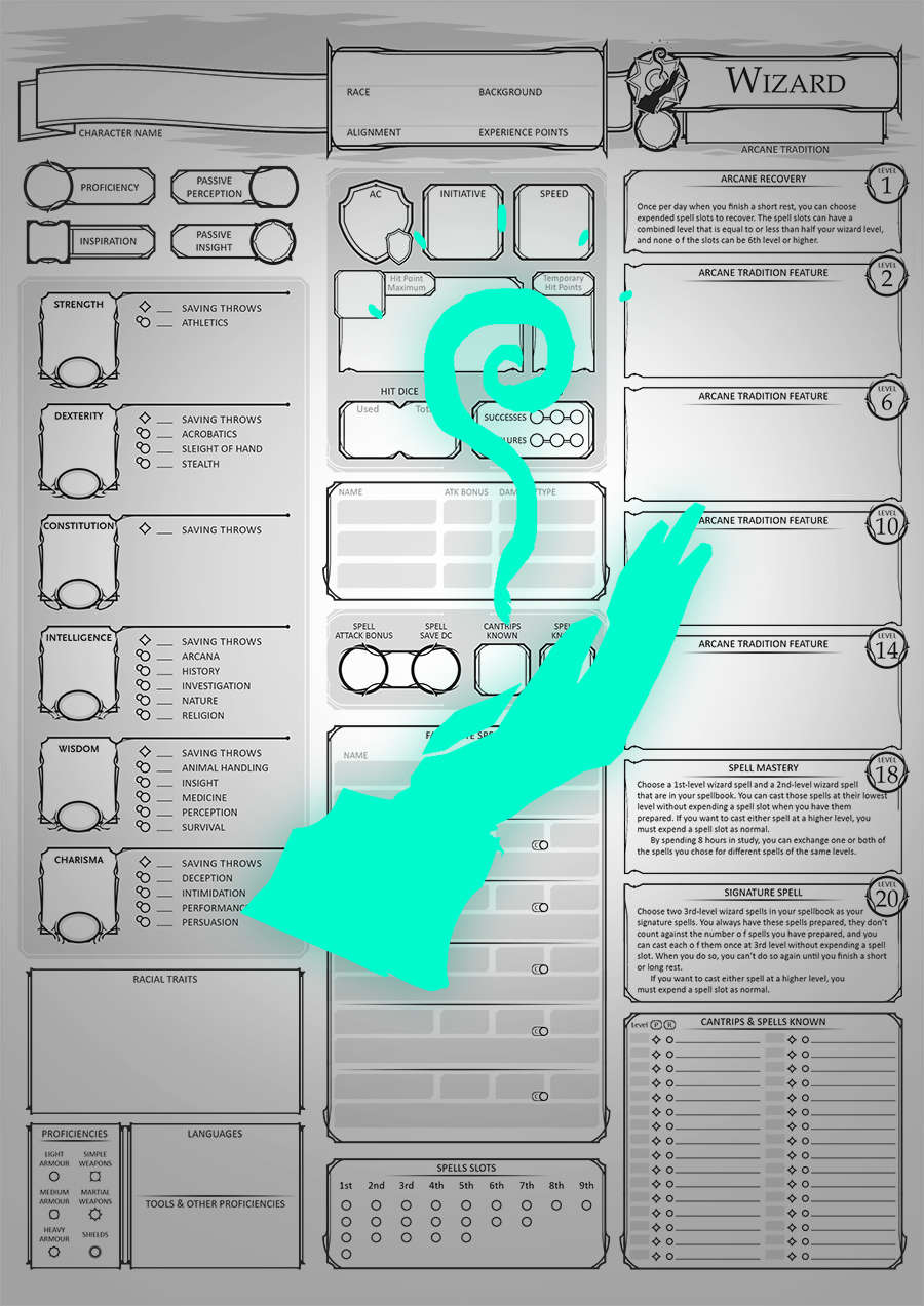 Class Character Sheets - The Wizard - Dungeon Masters Guild | Dungeon  Masters Guild