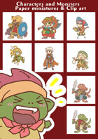 Characters and Monsters Paper miniatures & Clip art