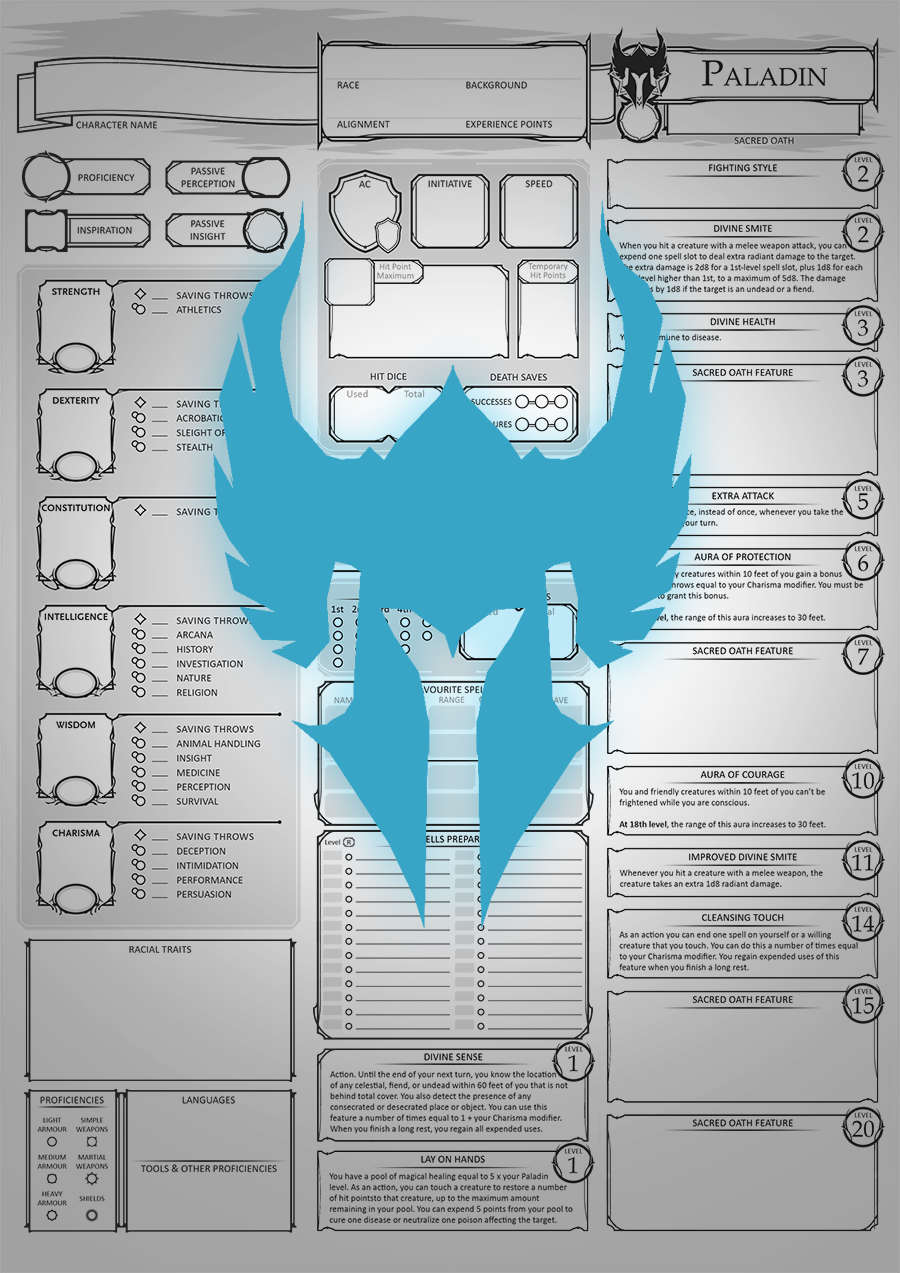 Class Character Sheets - The Paladin - Dungeon Masters Guild | Dungeon  Masters Guild