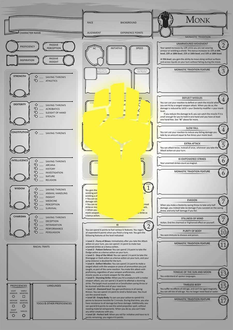 Class Character Sheets - The Monk - Dungeon Masters Guild | Dungeon Masters  Guild