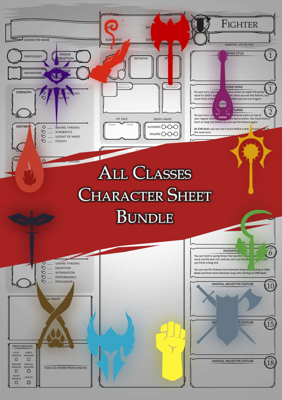 Class Character Sheets - The Bundle - Dungeon Masters Guild | Dungeon  Masters Guild
