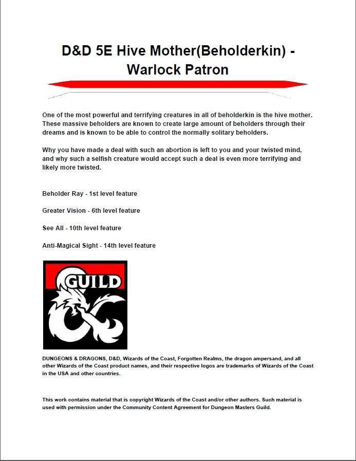 D&D 5E Hive Mother(Beholderkin) - Warlock Patron - Dungeon