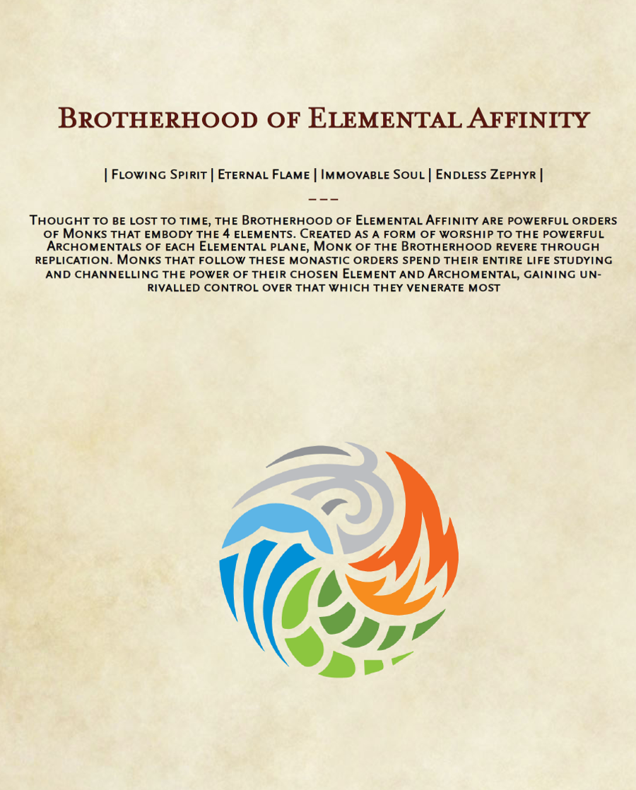 Brotherhood of Elemental Affinity: A set of 5e Monk Sub-classes - Dungeon  Masters Guild | Dungeon Masters Guild