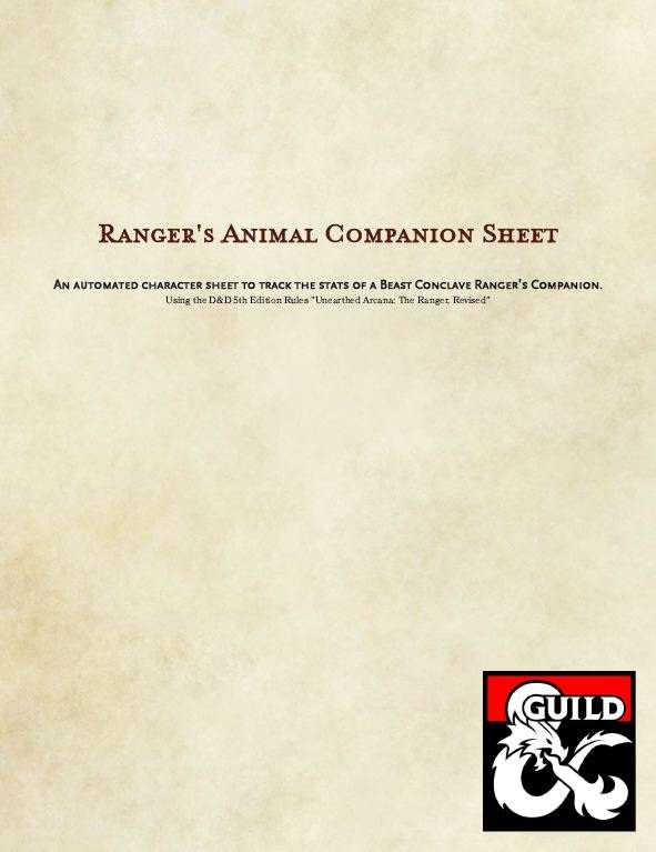 5e Rangers Animal Companion Sheet Dungeon Masters Guild Dungeon