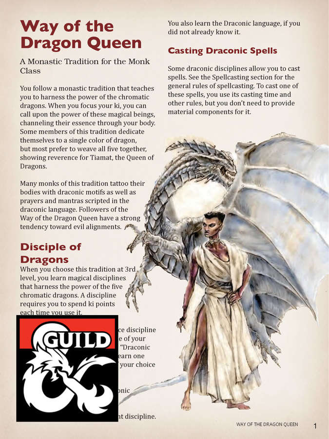 Way of the Dragon Queen - A Monastic Tradition - Dungeon Masters Guild |  DriveThruRPG com