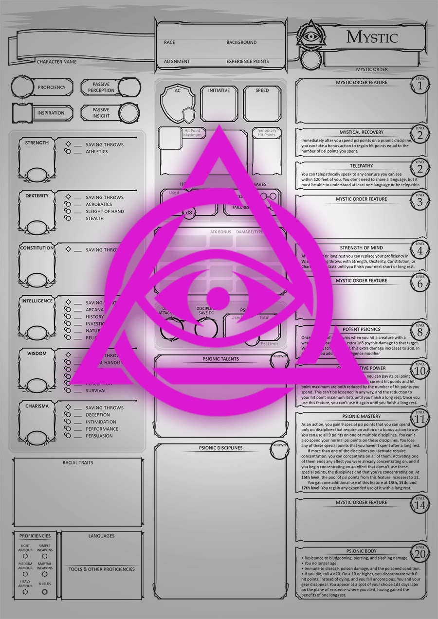 Class Character Sheets - The Mystic - Dungeon Masters Guild | Dungeon  Masters Guild