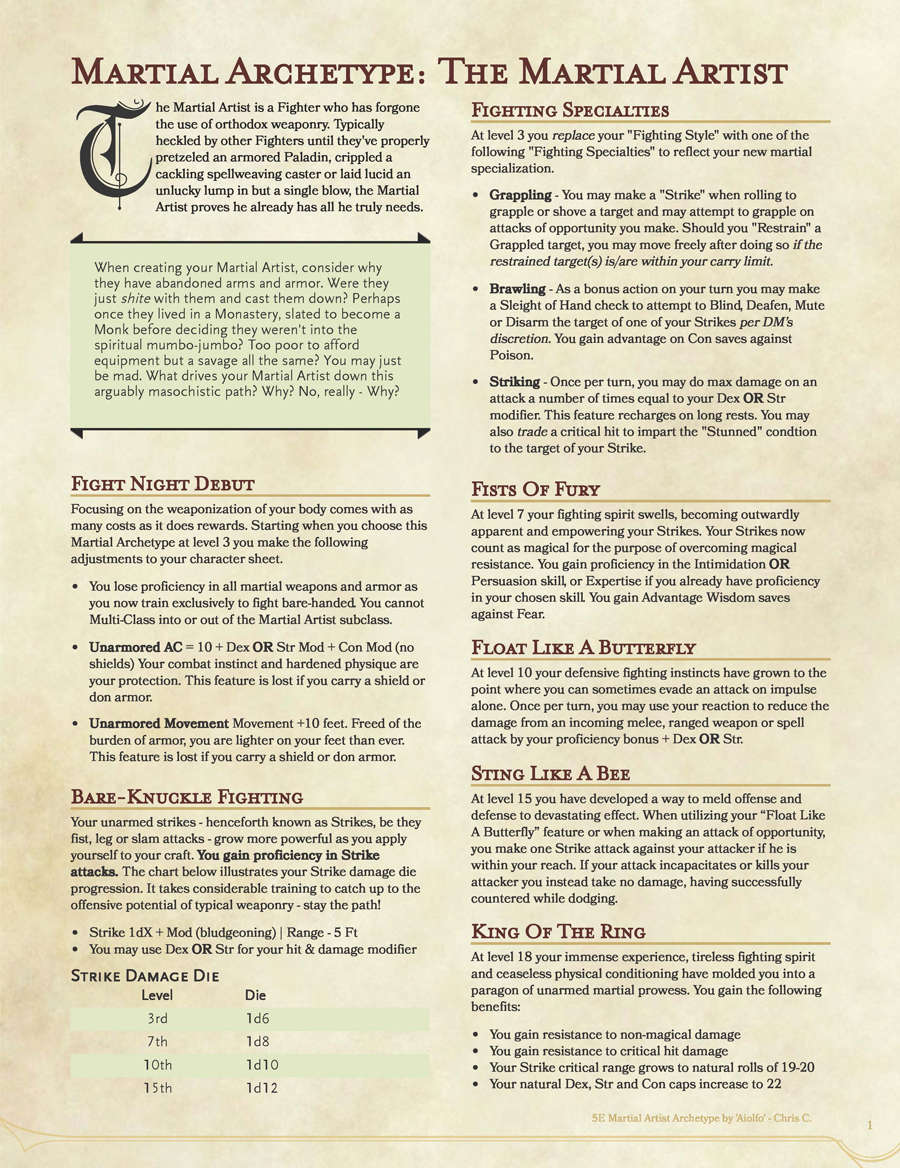 5E Unarmed Fighter Archetype: Martial Artist - Dungeon Masters Guild