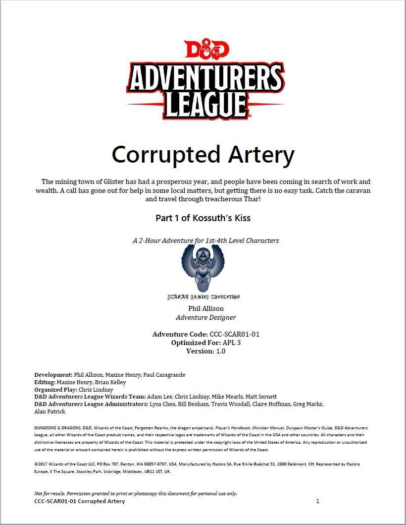 Cover of CCC-SCAR01-01 Corrupted Artery