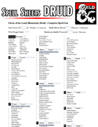 Class Specific Spell Sheets - Druid - v1.5 (EE, UA & XGtE)