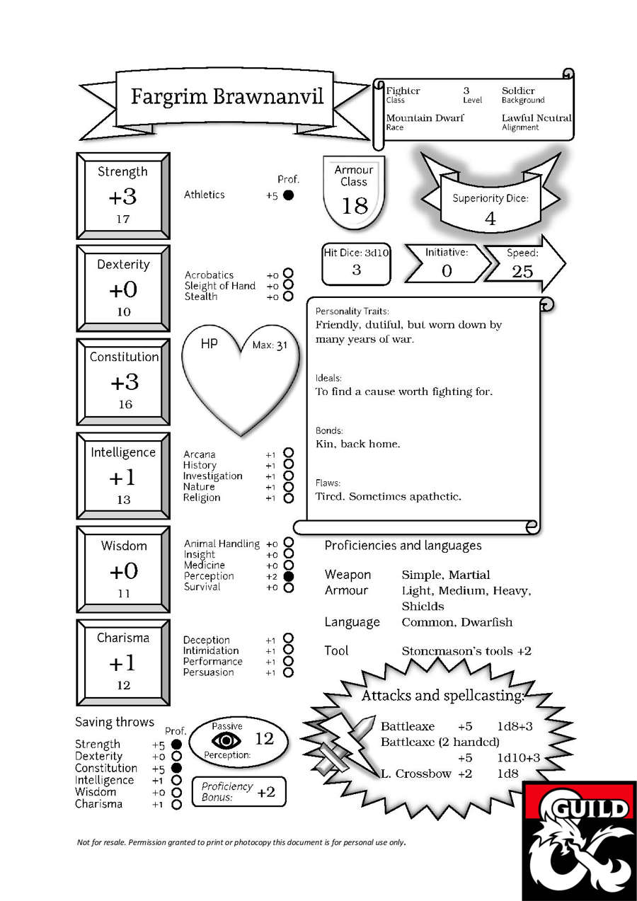 photograph relating to Printable Dungeons and Dragons Character Sheet identified as Fargrim, the Dwarf Fighter (Pregenerated Individuality Sheet for