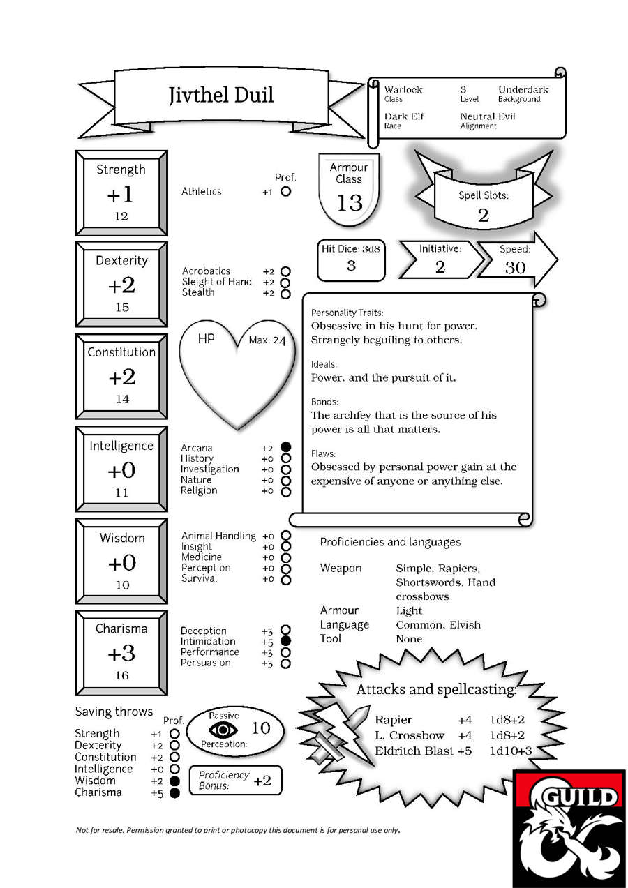 photograph regarding Dnd 5e Printable Character Sheet titled Jivthel, the Drow Warlock (Pregenerated Individuality Sheet for