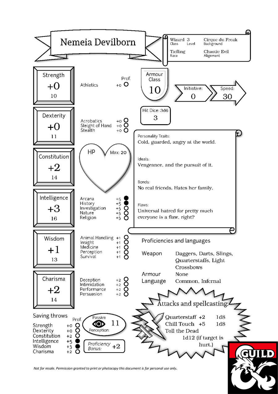 photograph about Printable Character Sheet 5e identified as Nemeia, the Tiefling Wizard (Pregenerated Individuality Sheet