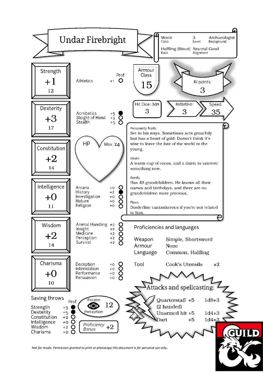Undar, the Halfling Monk (Pregenerated Character Sheet for D&D 5e