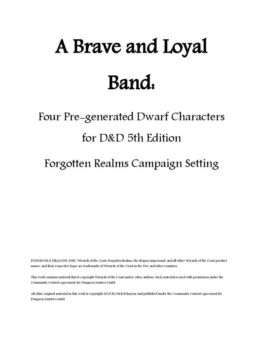 a brave and loyal band four pre generated dwarf characters for d d