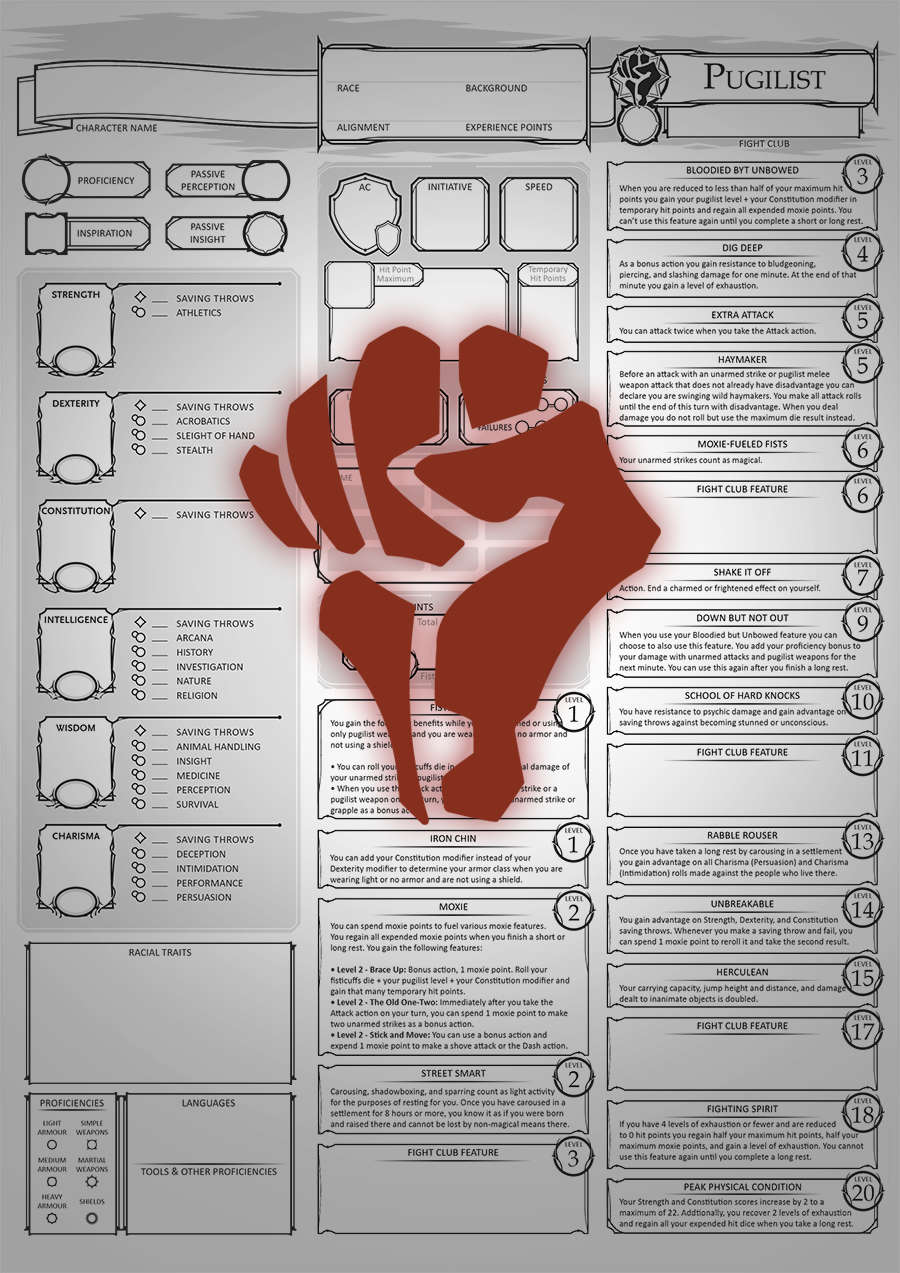 Class Character Sheets - The Pugilist - Dungeon Masters Guild | Dungeon  Masters Guild