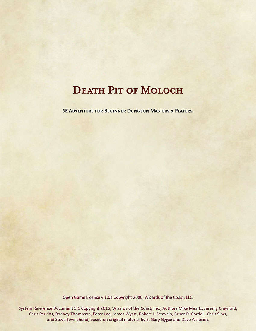 Death Pit Of Moloch 5e Adventure For Beginner Dungeon Masters