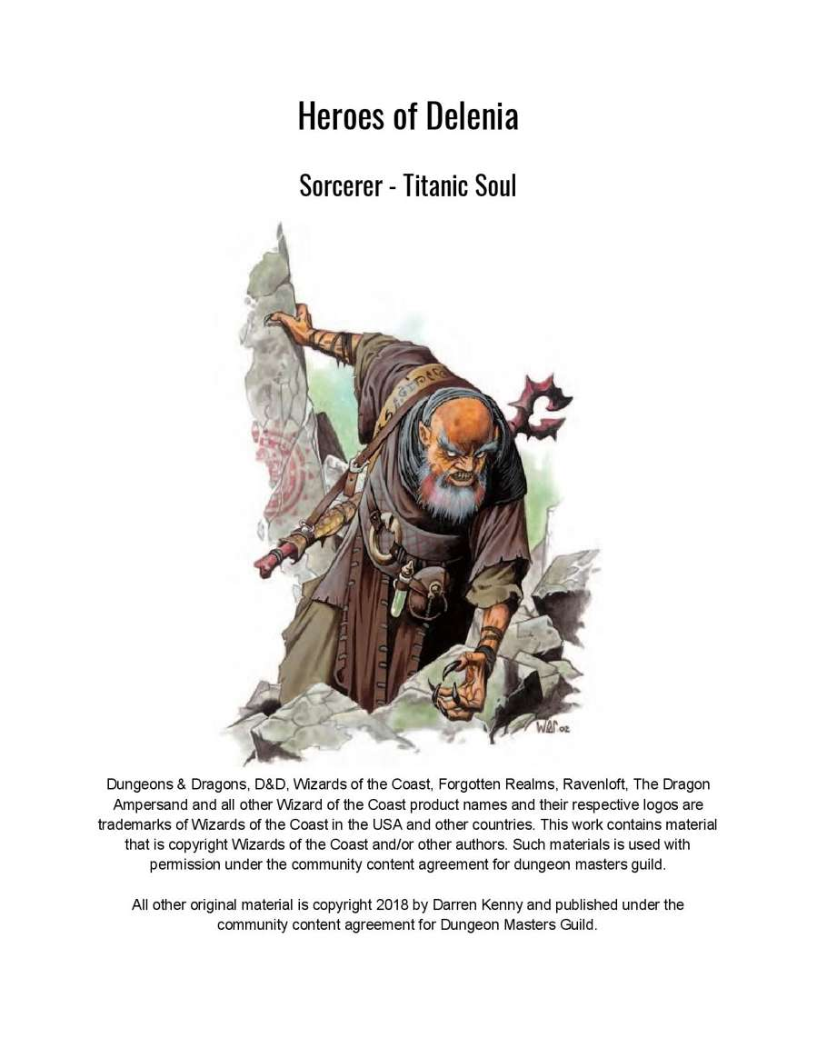 Sorcerer Titan Origin 5th Edition Subclass Dungeon