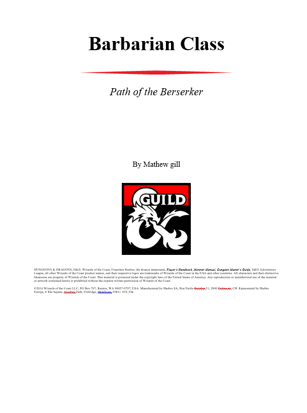 Barbarian Path Of The Berseker Rework Dungeon Masters Guild