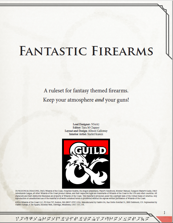 Fantasy Firearms Dungeon Masters Guild Dungeon Masters Guild