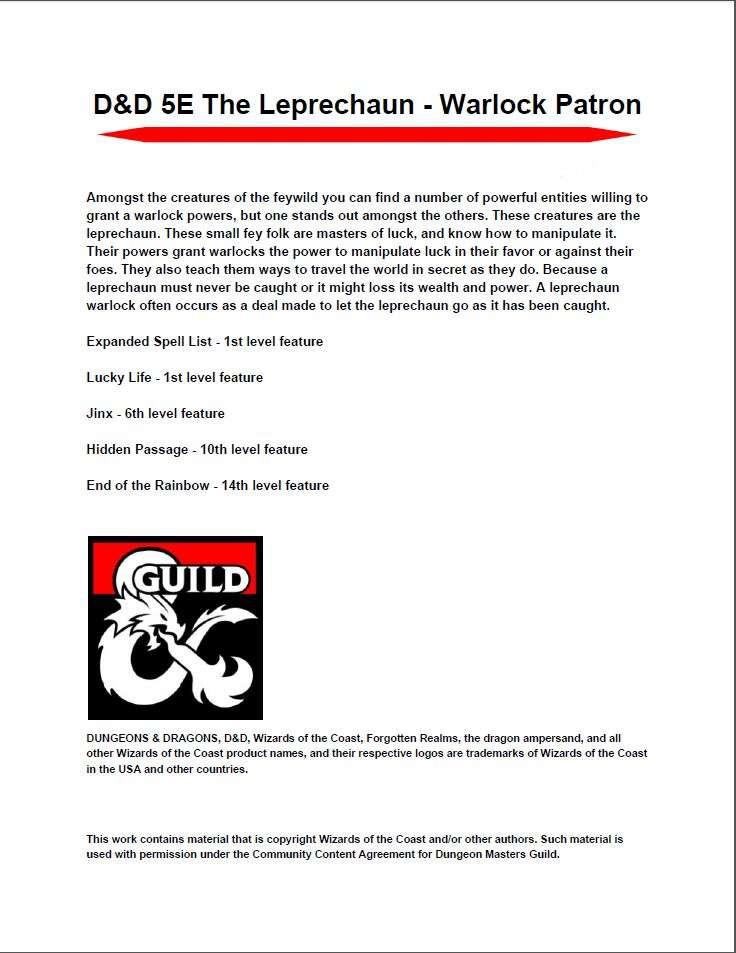 D&D 5E The Leprechaun - Warlock Patron - Dungeon Masters Guild |  DriveThruRPG com