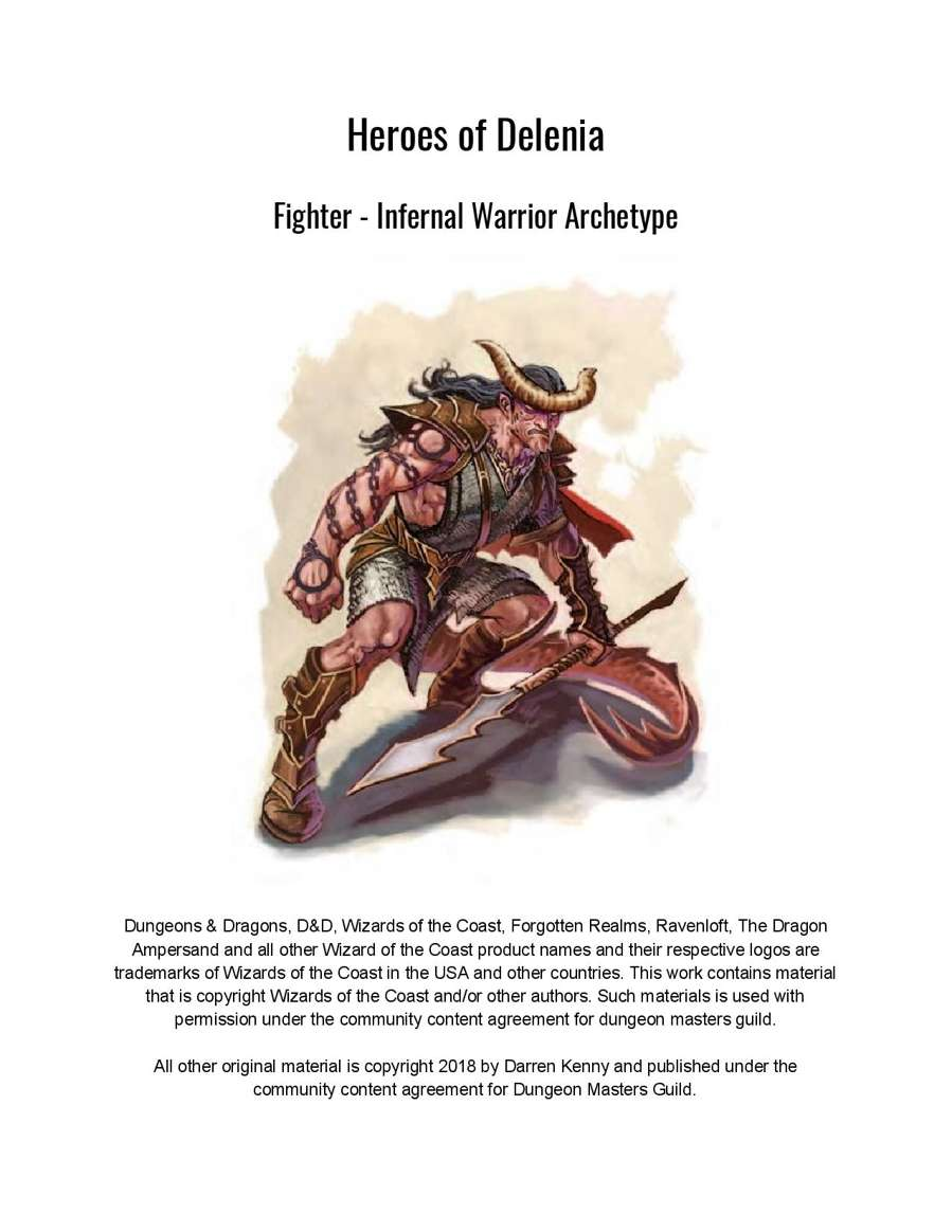 Fighter - Infernal Warrior Archetype (5th Edition Subclass) - Dungeon  Masters Guild | Dungeon Masters Guild