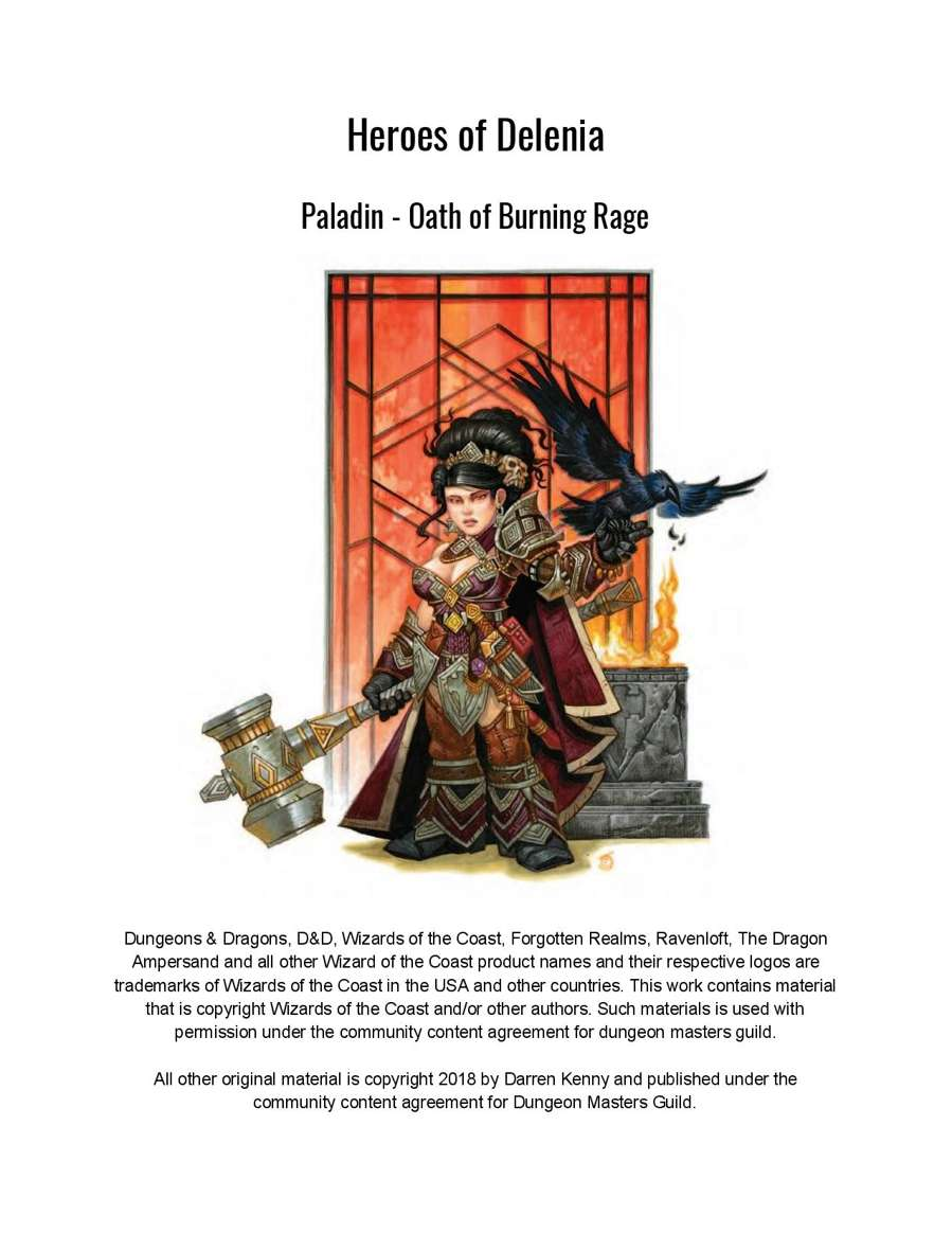 Paladin - Oath of Raging Flames (5th Edition Subclass) - Dungeon Masters Guild | Dungeon Masters ...