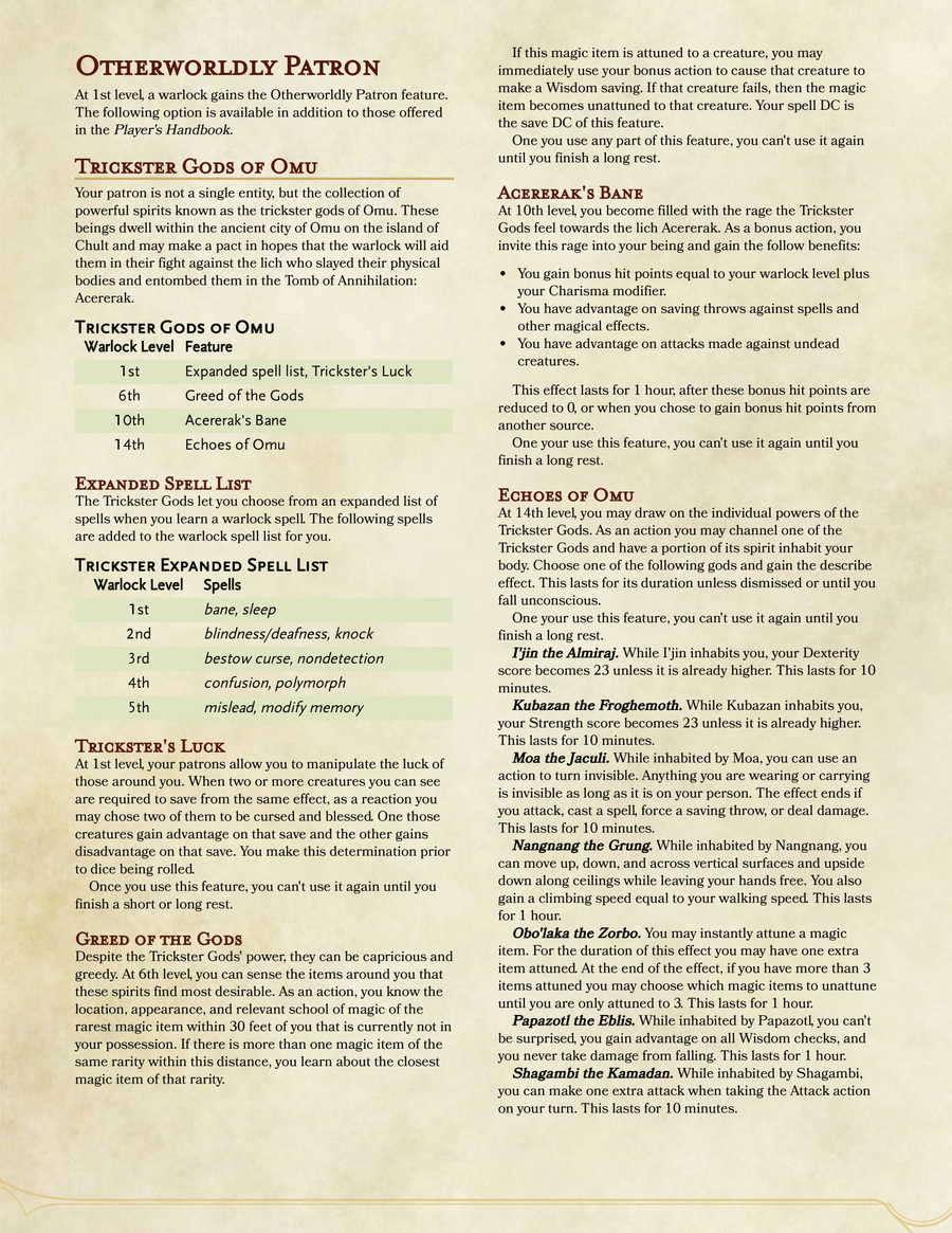 5e Warlock Guide 2018