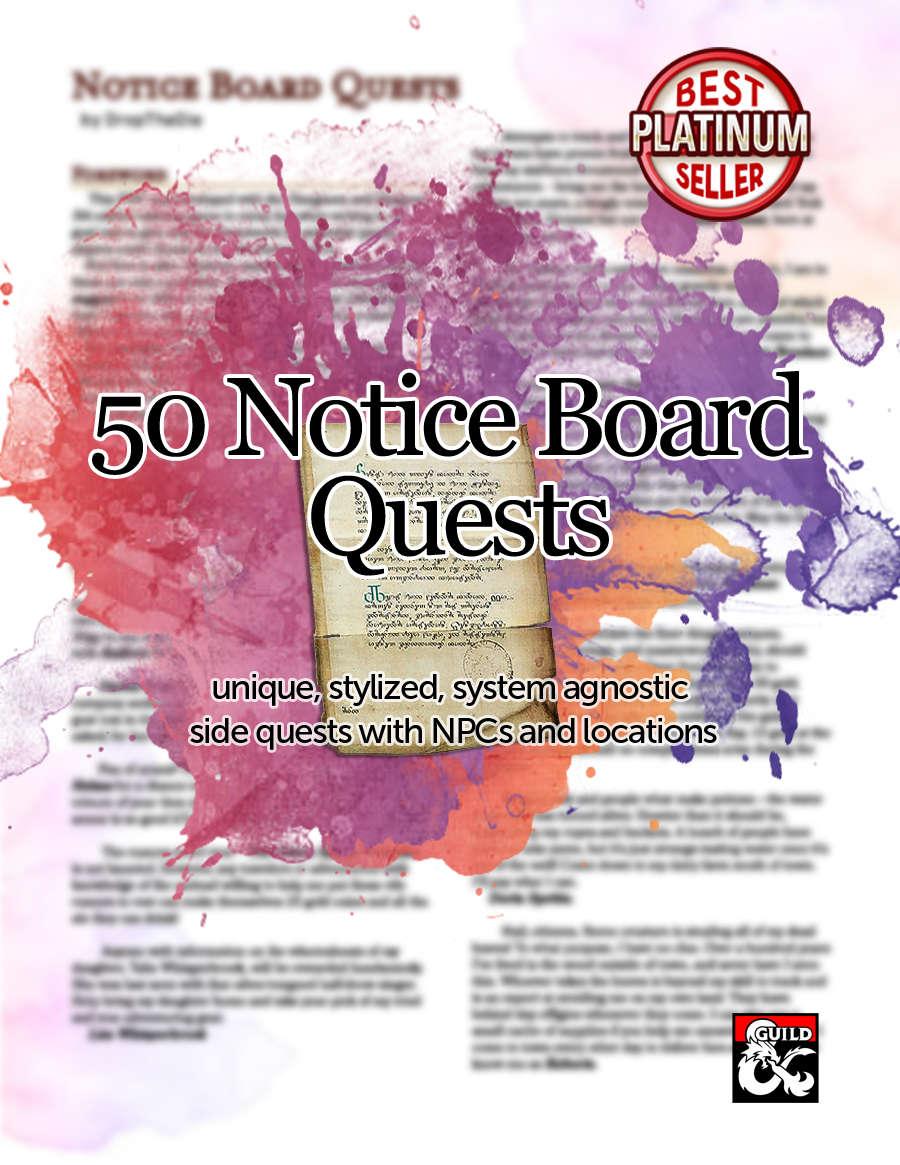 50 Notice Board Quests Dungeon Masters Guild Wargame Vault