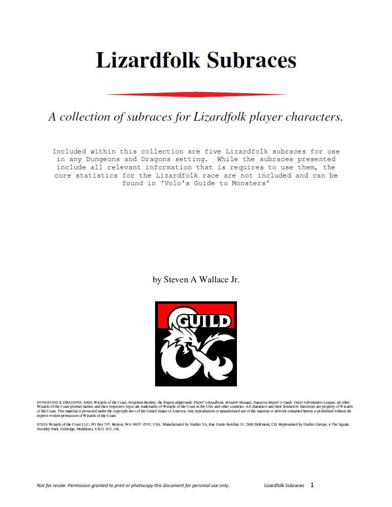 Lizardfolk Subraces