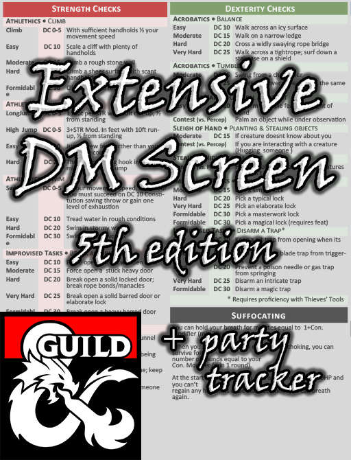 Extensive DM Screen for DnD 5e with Party Tracker (Landscape)