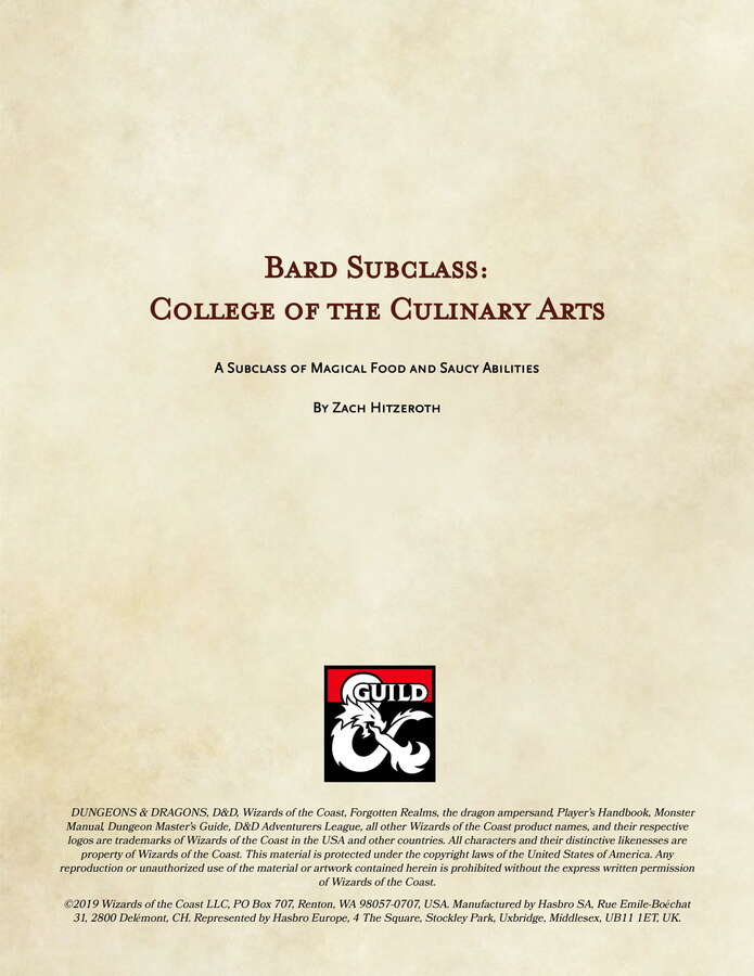 Bard College of the Culinary Arts - Dungeon Masters Guild | Dungeon