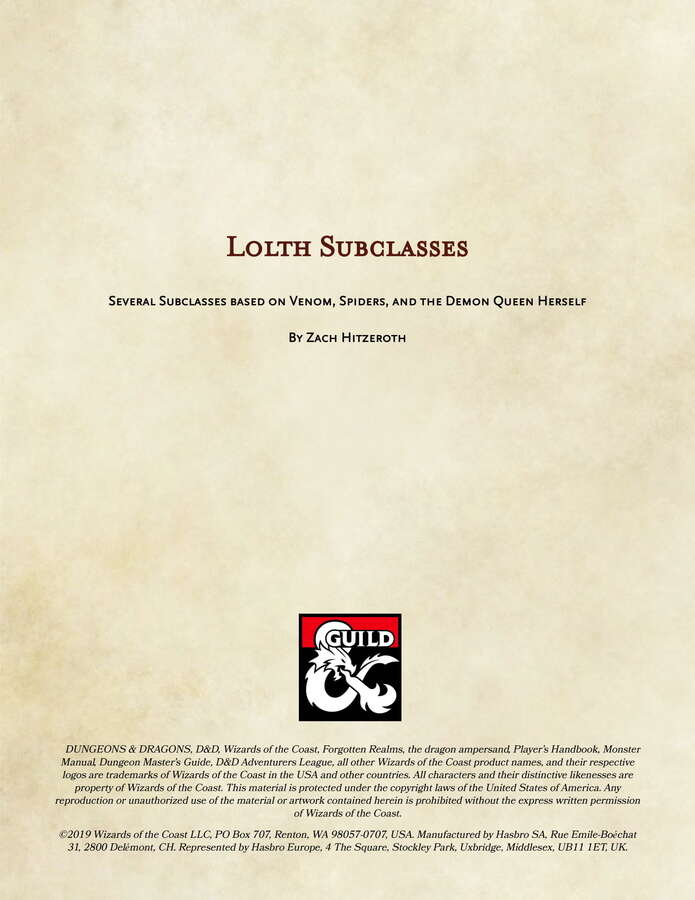 Lolth Subclasses