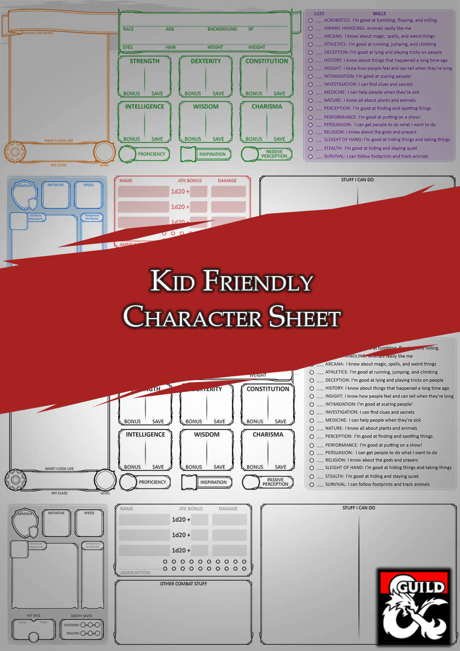 Kid Friendly Character Sheet Dungeon Masters Guild Dungeon Masters Guild