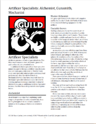 (5e) Artificer Specialists: Alchemist, Gunsmith, Mechanist