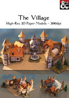 The Village - 3D Paper Models for Battle Maps - High-Res