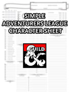 Simple Adventurers League Character Sheet