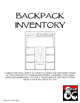 Backpack Inventory Sheet