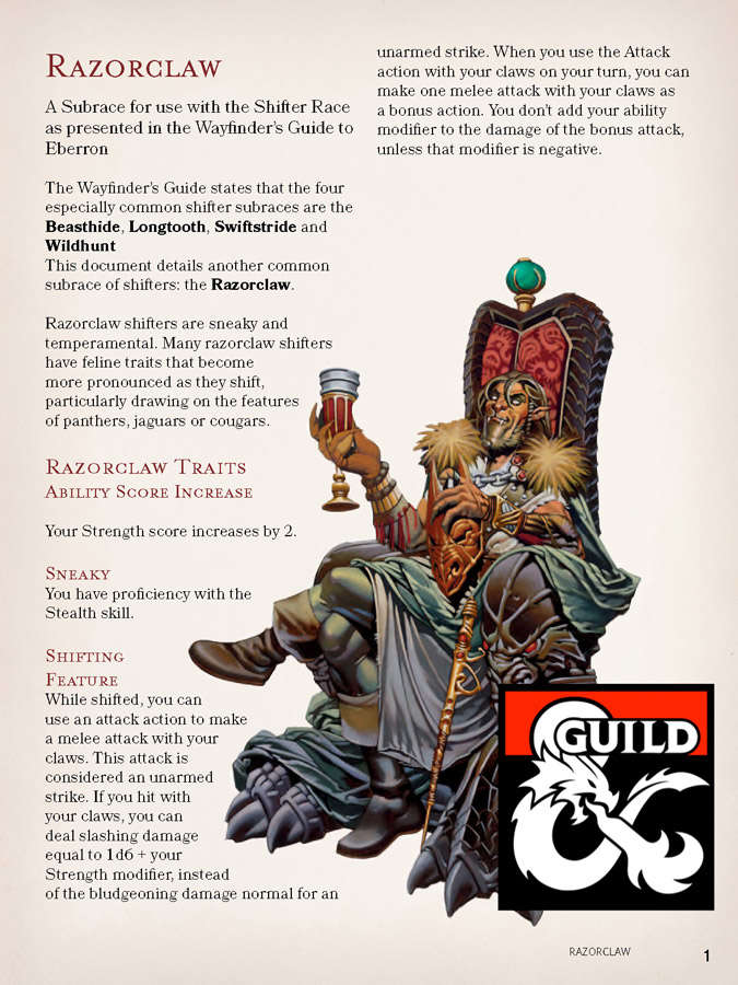 Razorclaw shifters dungeon masters guild dungeon masters guild fandeluxe Images