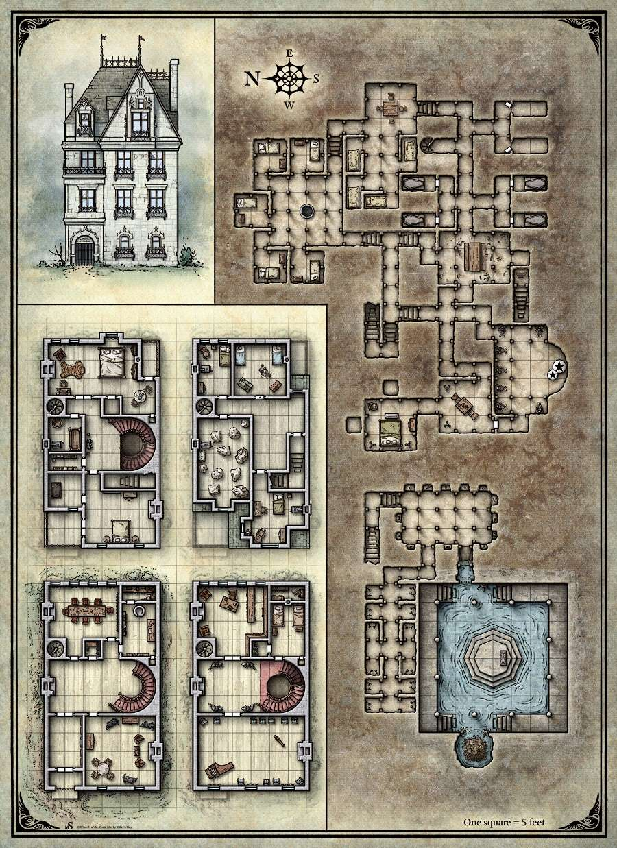 Printable Death House Maps - Dungeon Masters Guild | Dungeon Masters