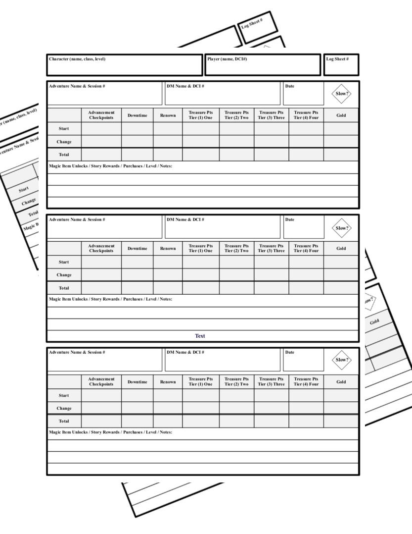 Al Log Sheet Elegant Utility Edition Dungeon Masters