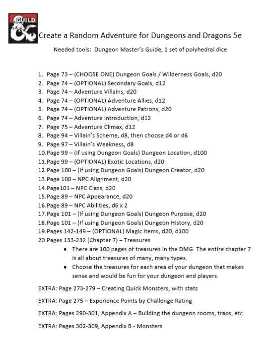Step by Step Adventure Creation using DMG - Dungeon Masters