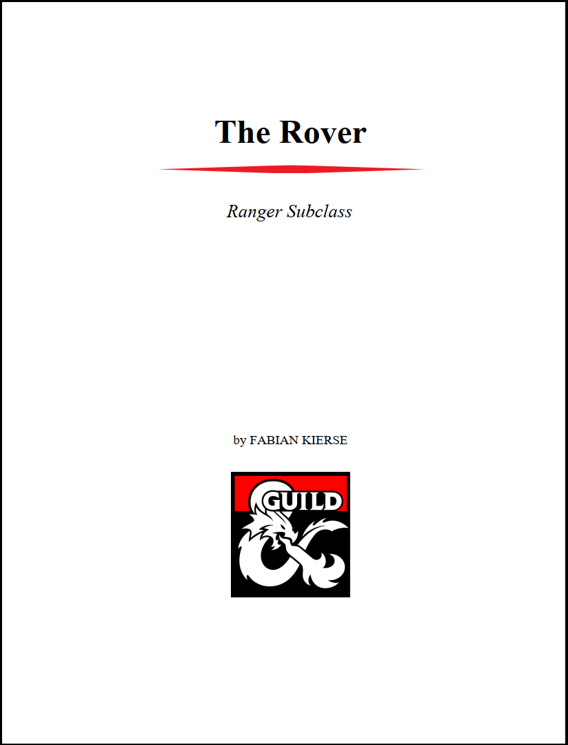 The Rover Ranger Archetype 5e - Dungeon Masters Guild   Dungeon Masters  Guild