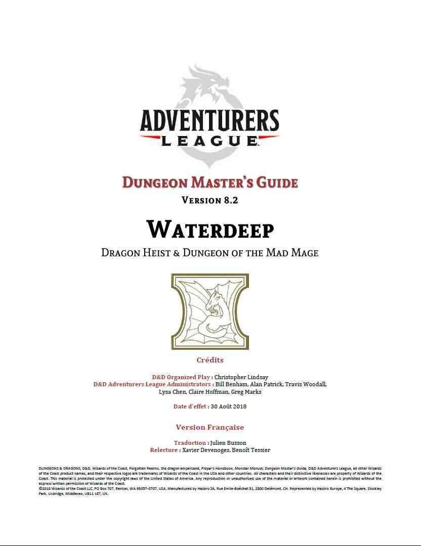 Le Guide du Maître - Adventurers League v8 2 - Dungeon