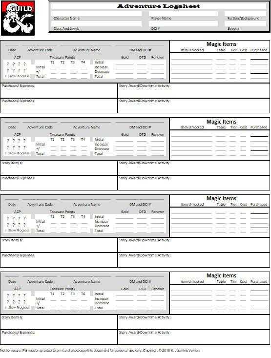 Adventurers League Logsheet Season 8 Dungeon Masters