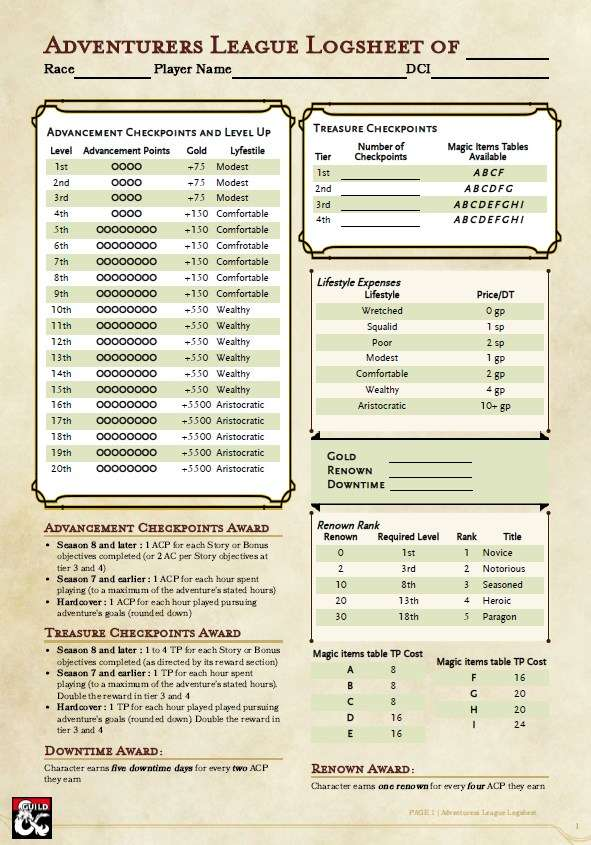 Logsheet For Al Season 8 Dungeon Masters Guild Dungeon