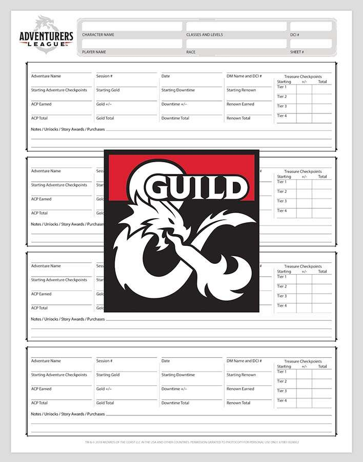 Adventurers League Season 8 Form Fill Log Sheet - Dungeon