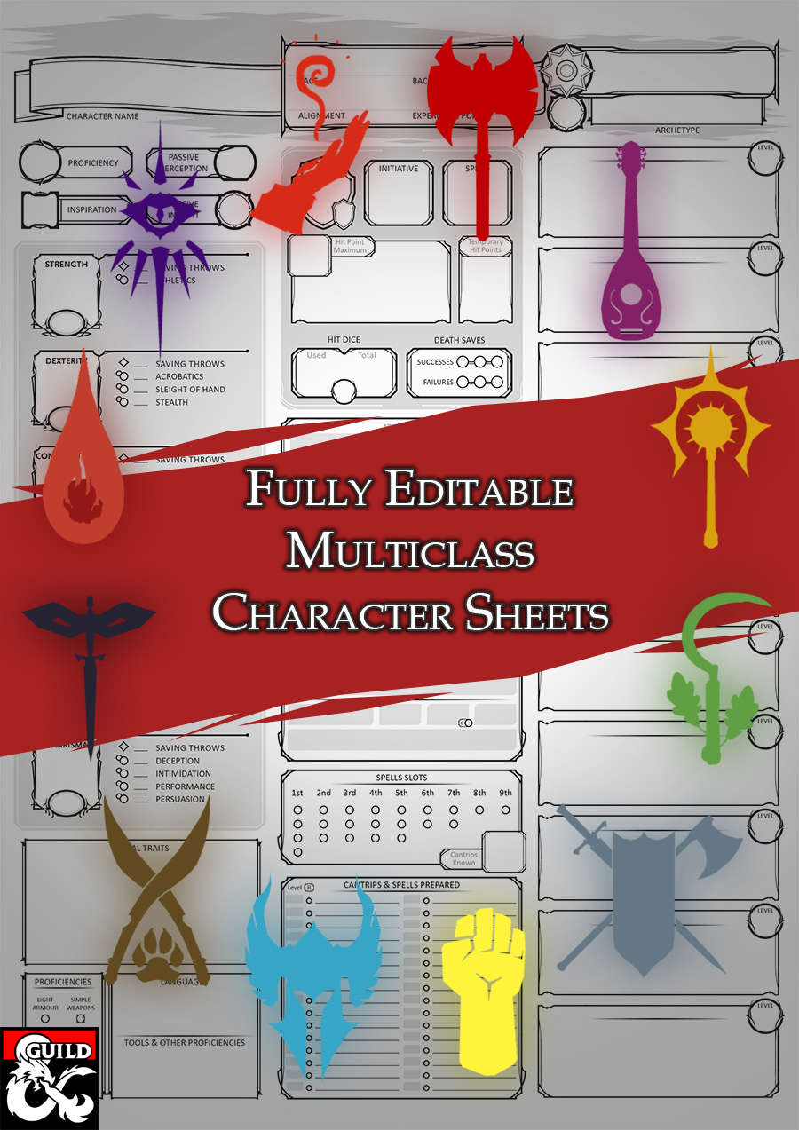Editable Class Character Sheets - The Multiclass - Dungeon Masters Guild |  Dungeon Masters Guild