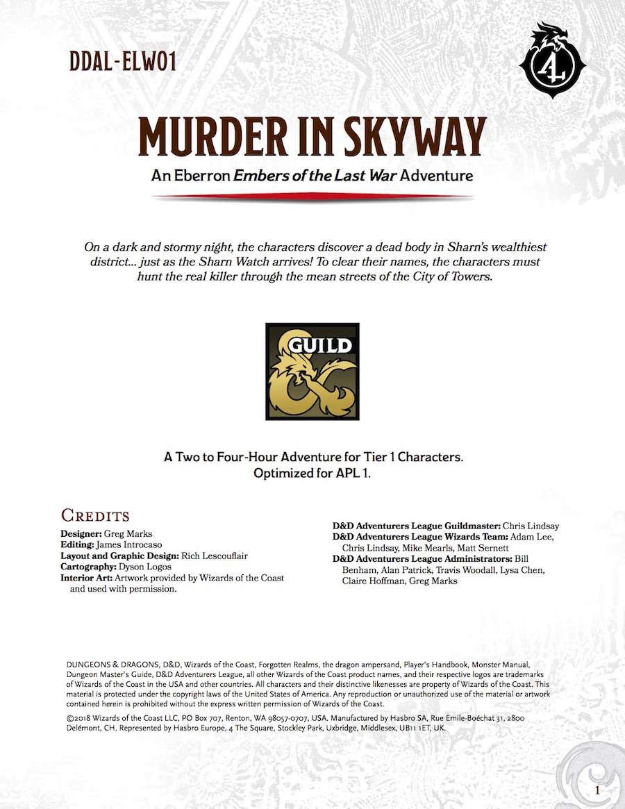 DDAL-ELW01 Murder in Skyway